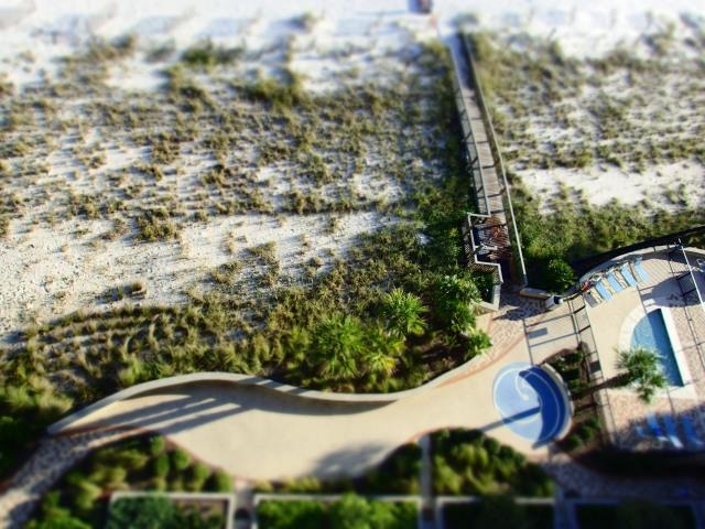 balcony view of beach walkway, orange beach, alabama, the greener bench blog