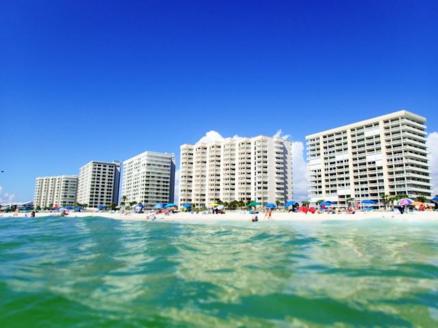 view of condos from gulf, orange beach, alabama, the greener bench blog