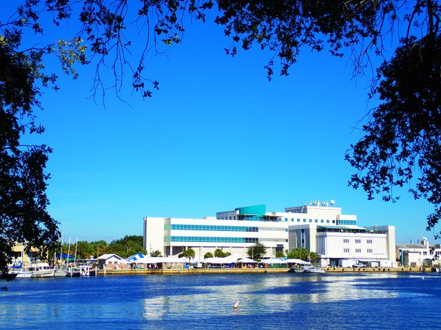 view of Fish and Wildlife facility across the water, USFSP, MarineQuest, St Petersburg, Florida, the greener bench blog