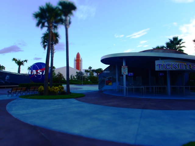 ticket booth, entrance, kennedy space center visitors complex, florida, the greener bench blog