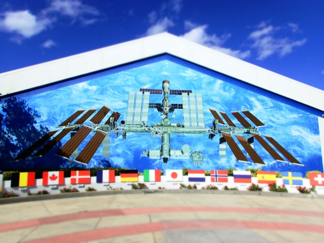 international space station mural, kennedy space center visitors complex, florida, the greener bench blog