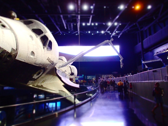 canadarm extended, Space Shuttle Atlantis, exhibit building, Kennedy Space Center, Florida, the greener bench blog