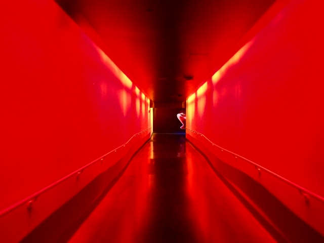 red lights in hallway, Space Shuttle Atlantis exhibit building, Kennedy Space Center, Florida, the greener bench blog