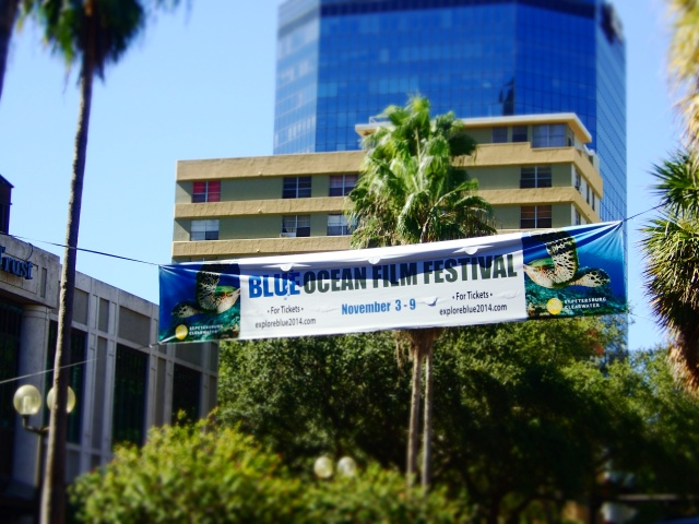 blue ocean film festival signage on central avenue, downtown st Petersburg, florida, the greener bench blog