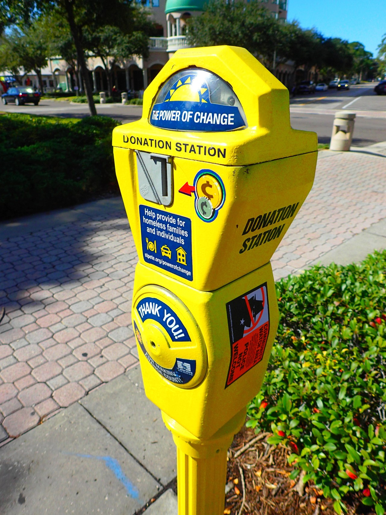 parking meters for homeless collection, st Petersburg, florida, the greener bench blog